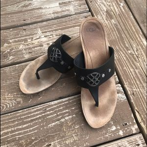 UGG Briella black leather thong cork sandal 10